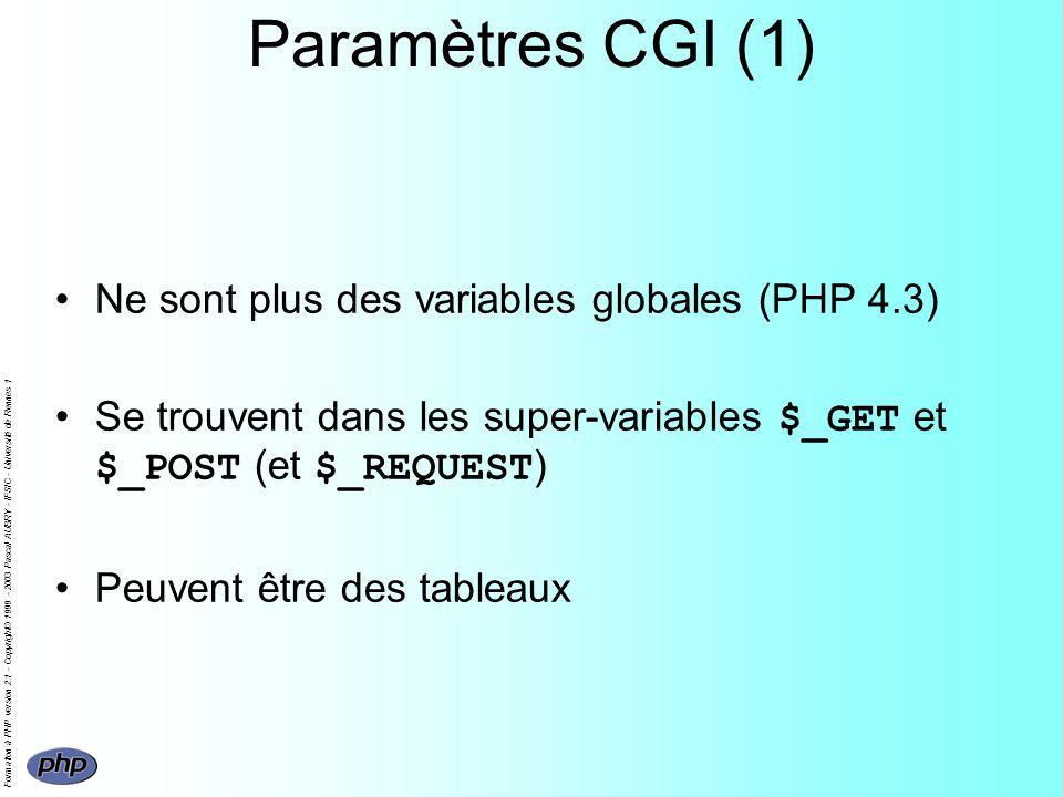 Formation à PHP version 2.1 - Copyright© 1999 - 2003 Pascal AUBRY - IFSIC - Université de Rennes 1 Paramètres CGI (1) Ne sont plus des variables globa