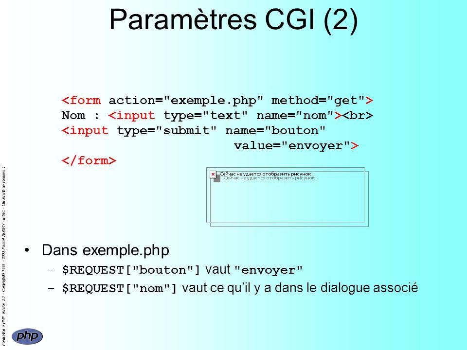 Formation à PHP version 2.1 - Copyright© 1999 - 2003 Pascal AUBRY - IFSIC - Université de Rennes 1 Paramètres CGI (2) Nom : Dans exemple.php –$REQUEST