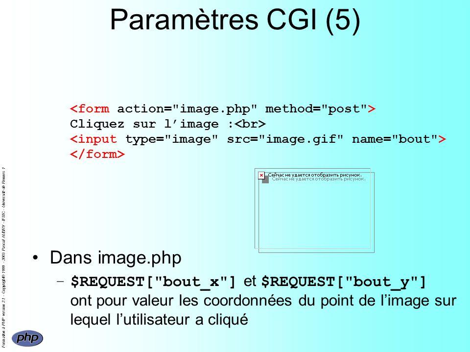 Formation à PHP version 2.1 - Copyright© 1999 - 2003 Pascal AUBRY - IFSIC - Université de Rennes 1 Paramètres CGI (5) Cliquez sur limage : Dans image.