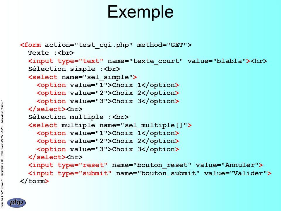 Formation à PHP version 2.1 - Copyright© 1999 - 2003 Pascal AUBRY - IFSIC - Université de Rennes 1 Exemple Texte : Sélection simple : Choix 1 Choix 2 Choix 3 Sélection multiple : Choix 1 Choix 2 Choix 3