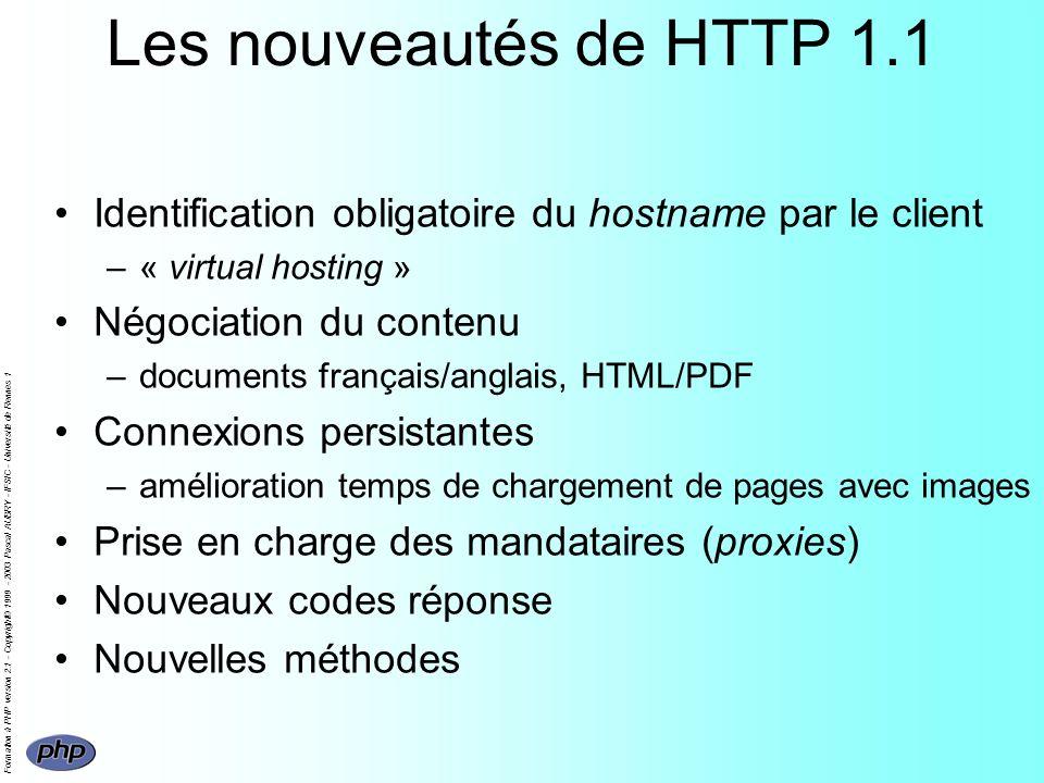 Formation à PHP version 2.1 - Copyright© 1999 - 2003 Pascal AUBRY - IFSIC - Université de Rennes 1 Les nouveautés de HTTP 1.1 Identification obligatoi
