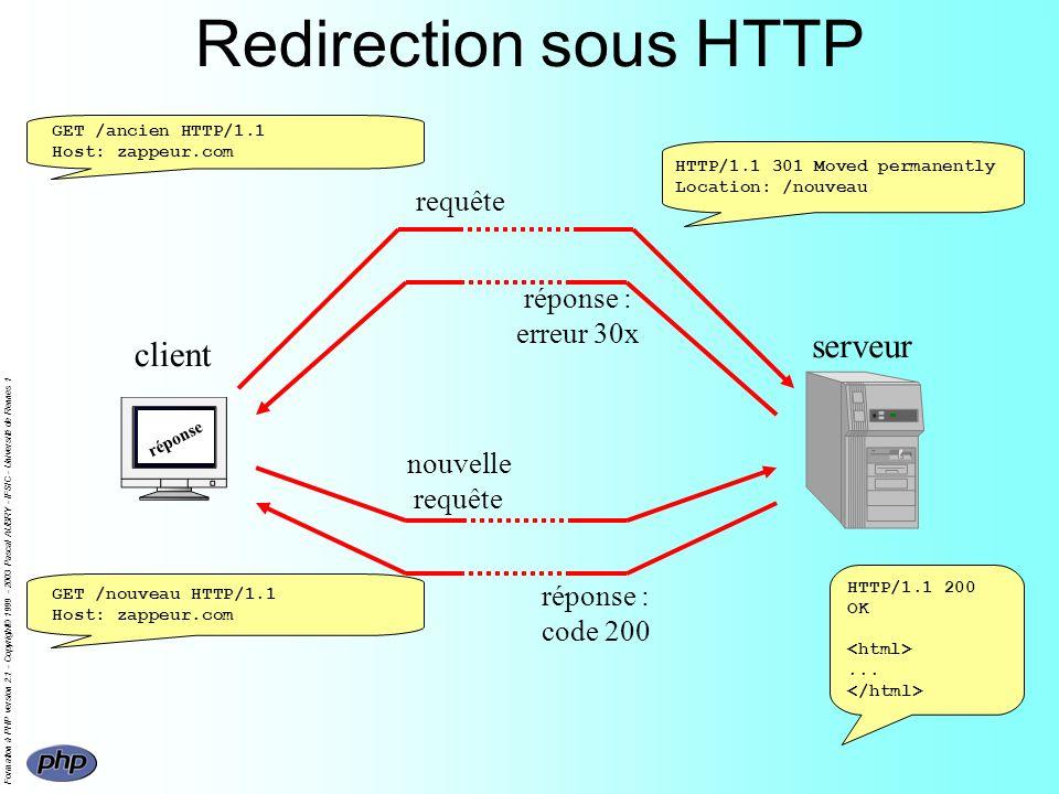 Formation à PHP version 2.1 - Copyright© 1999 - 2003 Pascal AUBRY - IFSIC - Université de Rennes 1 Redirection sous HTTP client serveur requête réponse : erreur 30x GET /ancien HTTP/1.1 Host: zappeur.com HTTP/1.1 301 Moved permanently Location: /nouveau nouvelle requête réponse : code 200 GET /nouveau HTTP/1.1 Host: zappeur.com HTTP/1.1 200 OK...