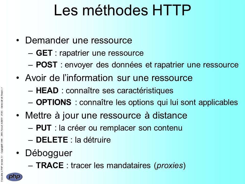 Formation à PHP version 2.1 - Copyright© 1999 - 2003 Pascal AUBRY - IFSIC - Université de Rennes 1 Les méthodes HTTP Demander une ressource –GET : rapatrier une ressource –POST : envoyer des données et rapatrier une ressource Avoir de linformation sur une ressource –HEAD : connaître ses caractéristiques –OPTIONS : connaître les options qui lui sont applicables Mettre à jour une ressource à distance –PUT : la créer ou remplacer son contenu –DELETE : la détruire Débogguer –TRACE : tracer les mandataires (proxies)