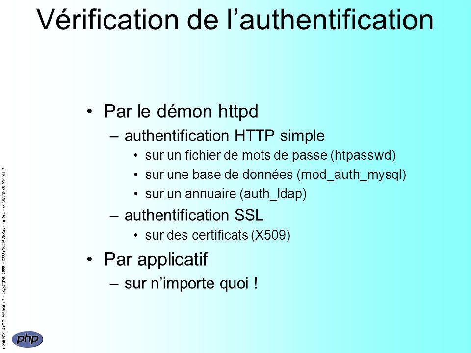 Formation à PHP version 2.1 - Copyright© 1999 - 2003 Pascal AUBRY - IFSIC - Université de Rennes 1 Vérification de lauthentification Par le démon http