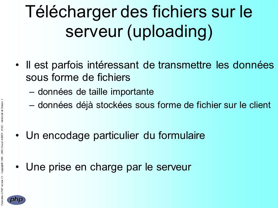 Formation à PHP version 2.1 - Copyright© 1999 - 2003 Pascal AUBRY - IFSIC - Université de Rennes 1 Télécharger des fichiers sur le serveur (uploading)