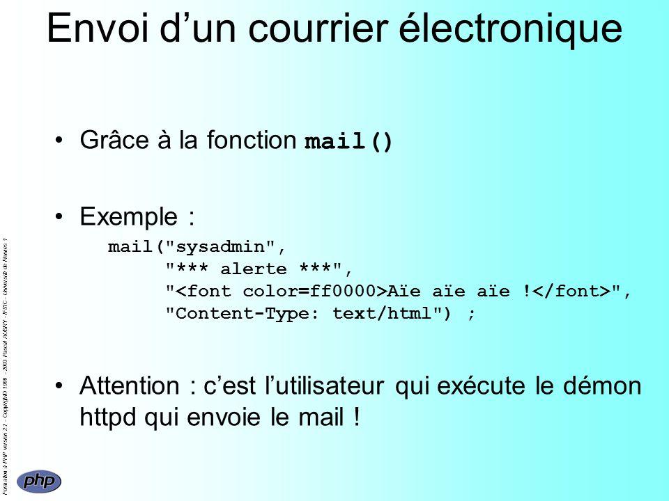 Formation à PHP version 2.1 - Copyright© 1999 - 2003 Pascal AUBRY - IFSIC - Université de Rennes 1 Envoi dun courrier électronique Grâce à la fonction