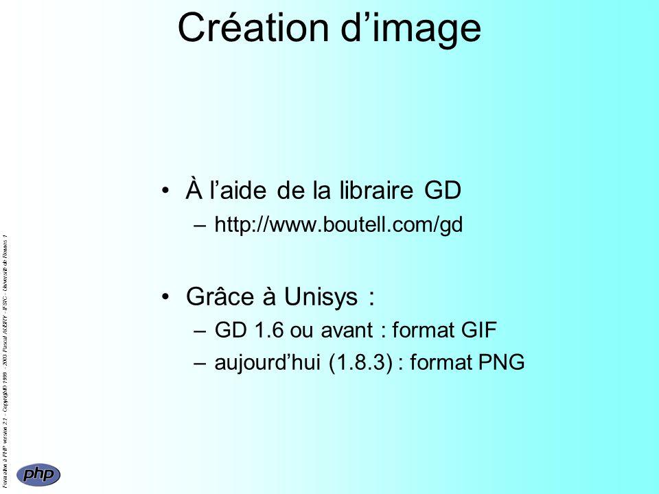 Formation à PHP version 2.1 - Copyright© 1999 - 2003 Pascal AUBRY - IFSIC - Université de Rennes 1 Création dimage À laide de la libraire GD –http://w
