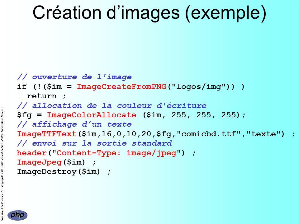 Formation à PHP version 2.1 - Copyright© 1999 - 2003 Pascal AUBRY - IFSIC - Université de Rennes 1 Création dimages (exemple) // ouverture de l'image