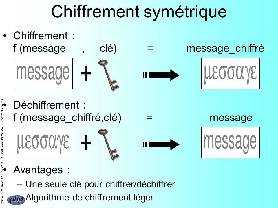 Formation à PHP version 2.1 - Copyright© 1999 - 2003 Pascal AUBRY - IFSIC - Université de Rennes 1 Chiffrement symétrique Chiffrement : f (message, clé) = message_chiffré Déchiffrement : f (message_chiffré,clé) = message Avantages : –Une seule clé pour chiffrer/déchiffrer –Algorithme de chiffrement léger