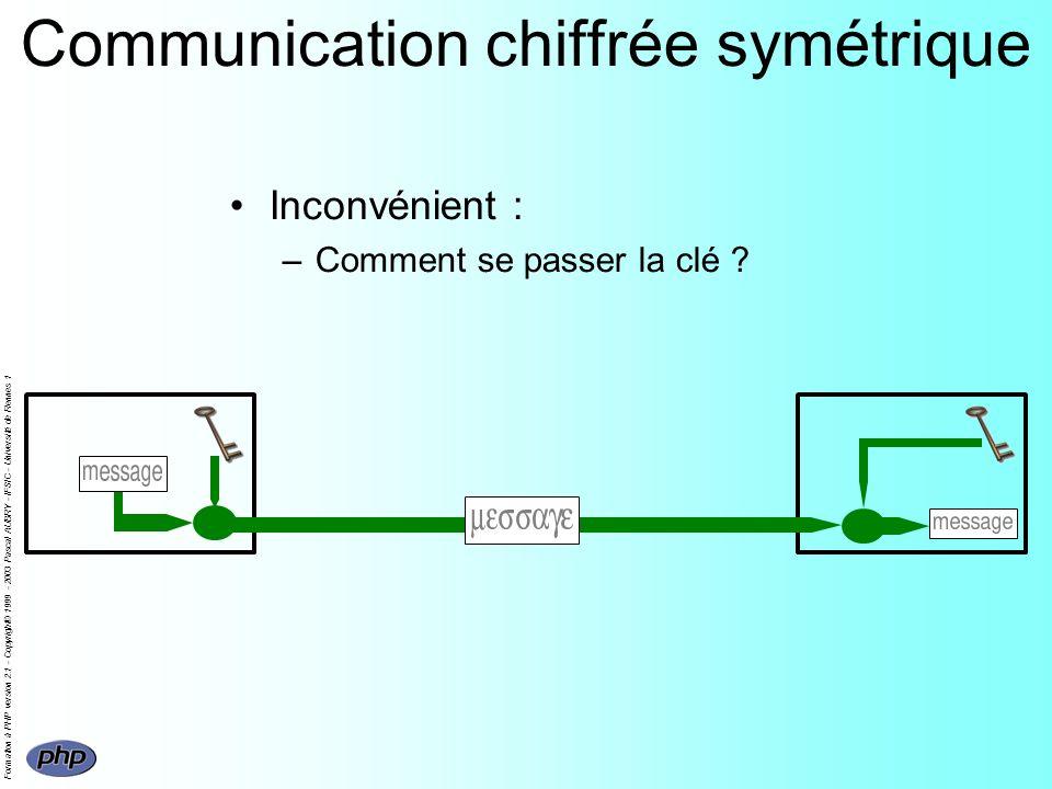 Formation à PHP version 2.1 - Copyright© 1999 - 2003 Pascal AUBRY - IFSIC - Université de Rennes 1 Communication chiffrée symétrique Inconvénient : –Comment se passer la clé