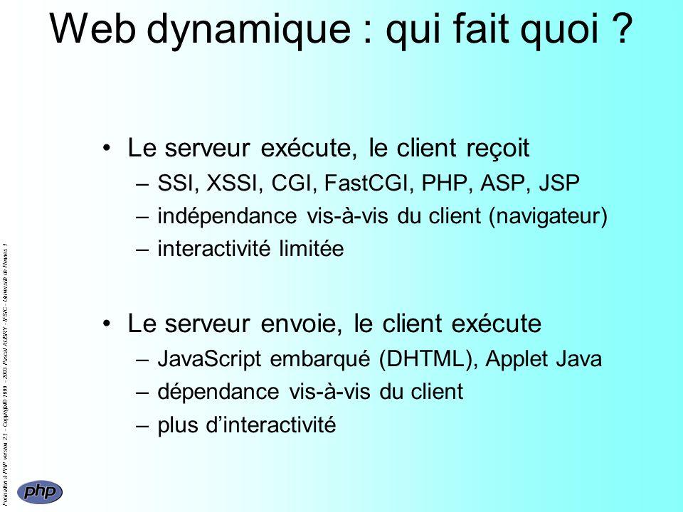 Formation à PHP version 2.1 - Copyright© 1999 - 2003 Pascal AUBRY - IFSIC - Université de Rennes 1 Web dynamique : qui fait quoi ? Le serveur exécute,