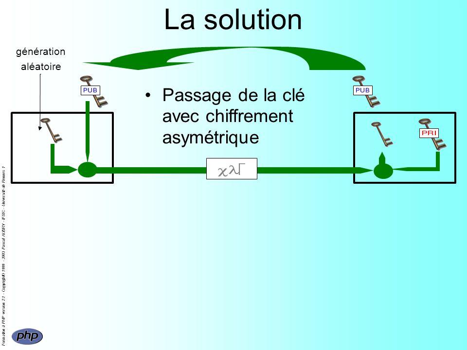 Formation à PHP version 2.1 - Copyright© 1999 - 2003 Pascal AUBRY - IFSIC - Université de Rennes 1 La solution Passage de la clé avec chiffrement asymétrique génération aléatoire