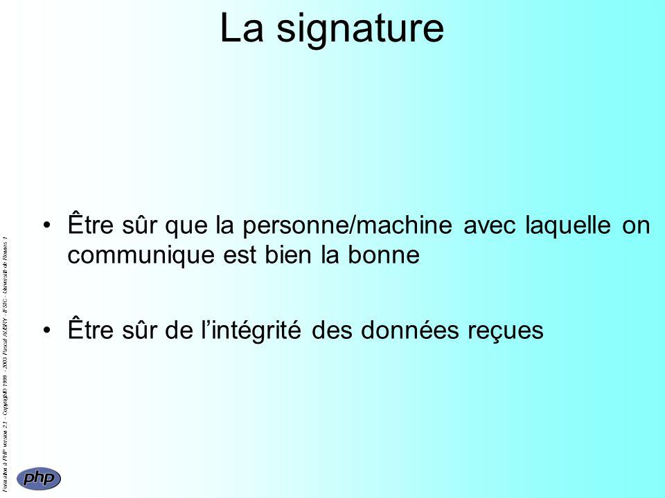 Formation à PHP version 2.1 - Copyright© 1999 - 2003 Pascal AUBRY - IFSIC - Université de Rennes 1 La signature Être sûr que la personne/machine avec