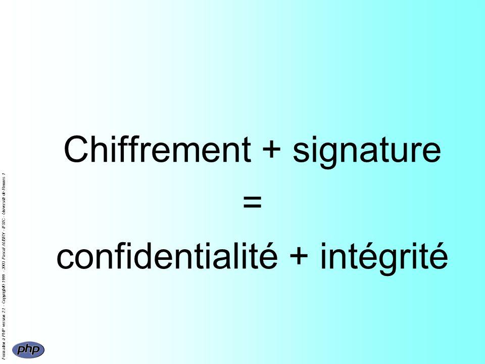 Formation à PHP version 2.1 - Copyright© 1999 - 2003 Pascal AUBRY - IFSIC - Université de Rennes 1 Chiffrement + signature = confidentialité + intégri