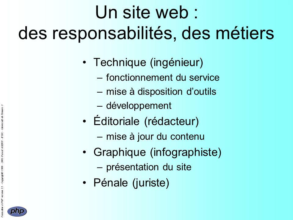 Formation à PHP version 2.1 - Copyright© 1999 - 2003 Pascal AUBRY - IFSIC - Université de Rennes 1 Un site web : des responsabilités, des métiers Tech