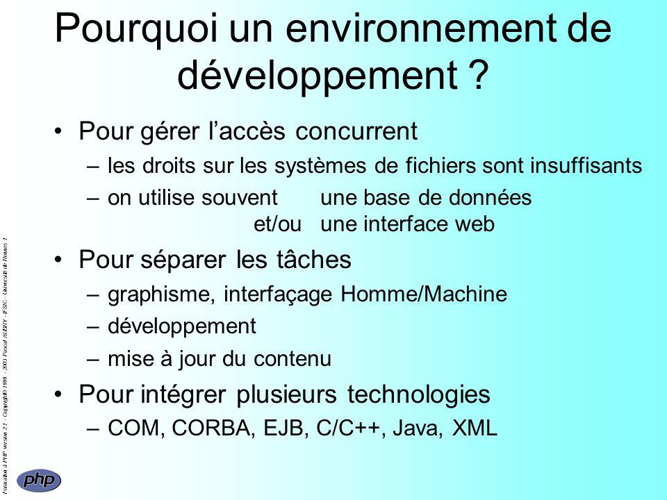 Formation à PHP version 2.1 - Copyright© 1999 - 2003 Pascal AUBRY - IFSIC - Université de Rennes 1 Pourquoi un environnement de développement .