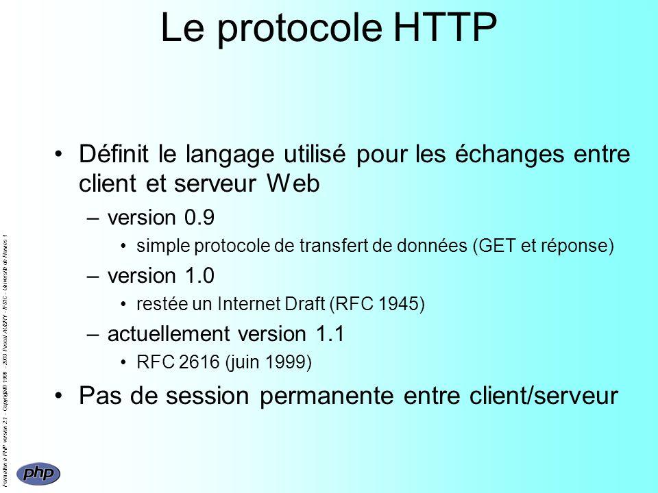 Formation à PHP version 2.1 - Copyright© 1999 - 2003 Pascal AUBRY - IFSIC - Université de Rennes 1 Déroulement dune requête HTTP Envoi dune requête (URL) clientserveur démon HTTP D HTTP Attente de la réponse du serveur Établissement de la connexion Réponse du serveur Affichage de la réponse Demande de connexion réponse Fermeture de la connexion