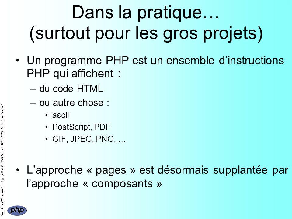 Formation à PHP version 2.1 - Copyright© 1999 - 2003 Pascal AUBRY - IFSIC - Université de Rennes 1 Dans la pratique… (surtout pour les gros projets) U