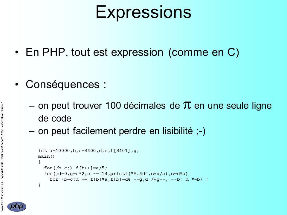 Formation à PHP version 2.1 - Copyright© 1999 - 2003 Pascal AUBRY - IFSIC - Université de Rennes 1 Expressions En PHP, tout est expression (comme en C) Conséquences : –on peut trouver 100 décimales de en une seule ligne de code –on peut facilement perdre en lisibilité ;-) int a=10000,b,c=8400,d,e,f[8401],g; main() { for(;b-c;) f[b++]=a/5; for(;d=0,g=c*2;c -= 14,printf( %.4d ,e+d/a),e=d%a) for (b=c;d += f[b]*a,f[b]=d% --g,d /=g--, --b; d *=b) ; }
