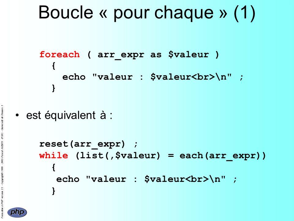 Formation à PHP version 2.1 - Copyright© 1999 - 2003 Pascal AUBRY - IFSIC - Université de Rennes 1 Boucle « pour chaque » (1) foreach ( arr_expr as $v