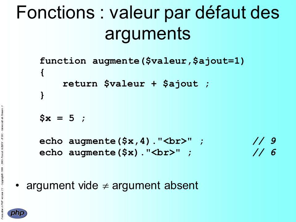 Formation à PHP version 2.1 - Copyright© 1999 - 2003 Pascal AUBRY - IFSIC - Université de Rennes 1 Fonctions : valeur par défaut des arguments functio