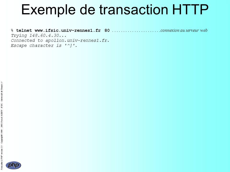 Formation à PHP version 2.1 - Copyright© 1999 - 2003 Pascal AUBRY - IFSIC - Université de Rennes 1 Sorties non HTML La sortie dun programme PHP peut être nimporte quoi Lentête HTTP indique au client le format des données renvoyées par défaut text/html Exemple (pour renvoyer du PostScript)
