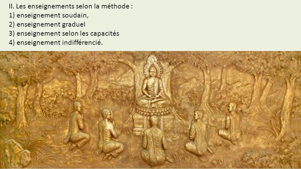 II. Les enseignements selon la méthode : 1) enseignement soudain, 2) enseignement graduel 3) enseignement selon les capacités 4) enseignement indiffér