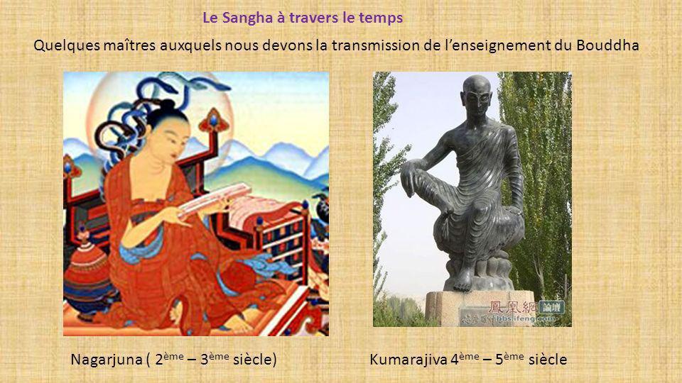 Quelques maîtres auxquels nous devons la transmission de lenseignement du Bouddha Le Sangha à travers le temps Kumarajiva 4 ème – 5 ème siècle Nagarju