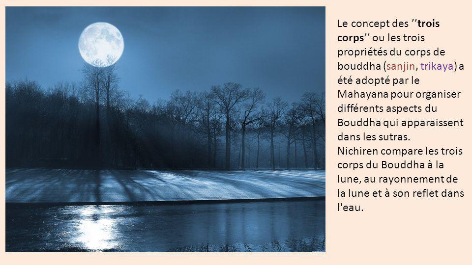 1- Le Corps de manifestation ou corps de l action (ojin, nirmanakaya) : manifestation du Bouddha en tant que personnage historique qui atteignit lÉveil sous larbre bodhi en Inde.
