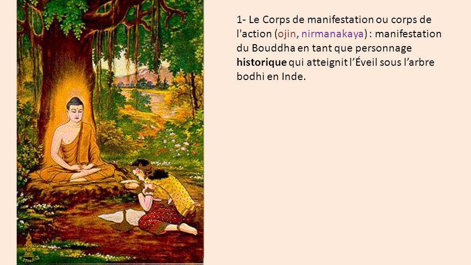 1- Le Corps de manifestation ou corps de l'action (ojin, nirmanakaya) : manifestation du Bouddha en tant que personnage historique qui atteignit lÉvei