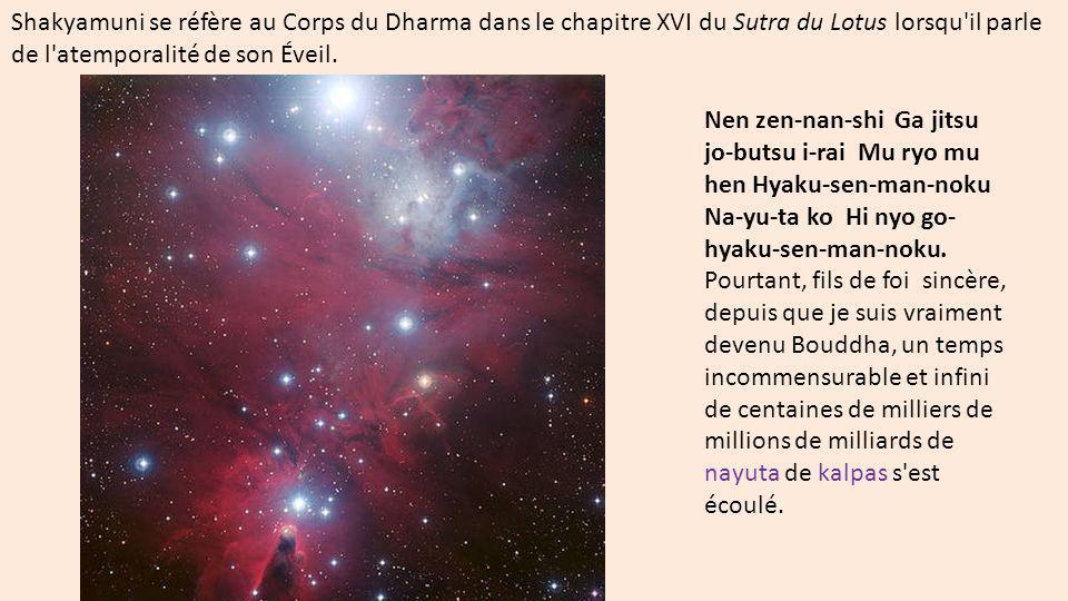 Shakyamuni se réfère au Corps du Dharma dans le chapitre XVI du Sutra du Lotus lorsqu'il parle de l'atemporalité de son Éveil. Nen zen-nan-shi Ga jits