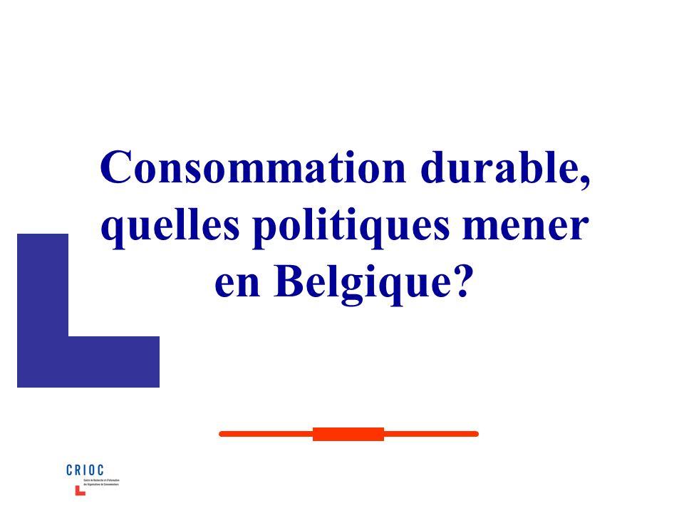 Consommation durable, quelles politiques mener en Belgique?