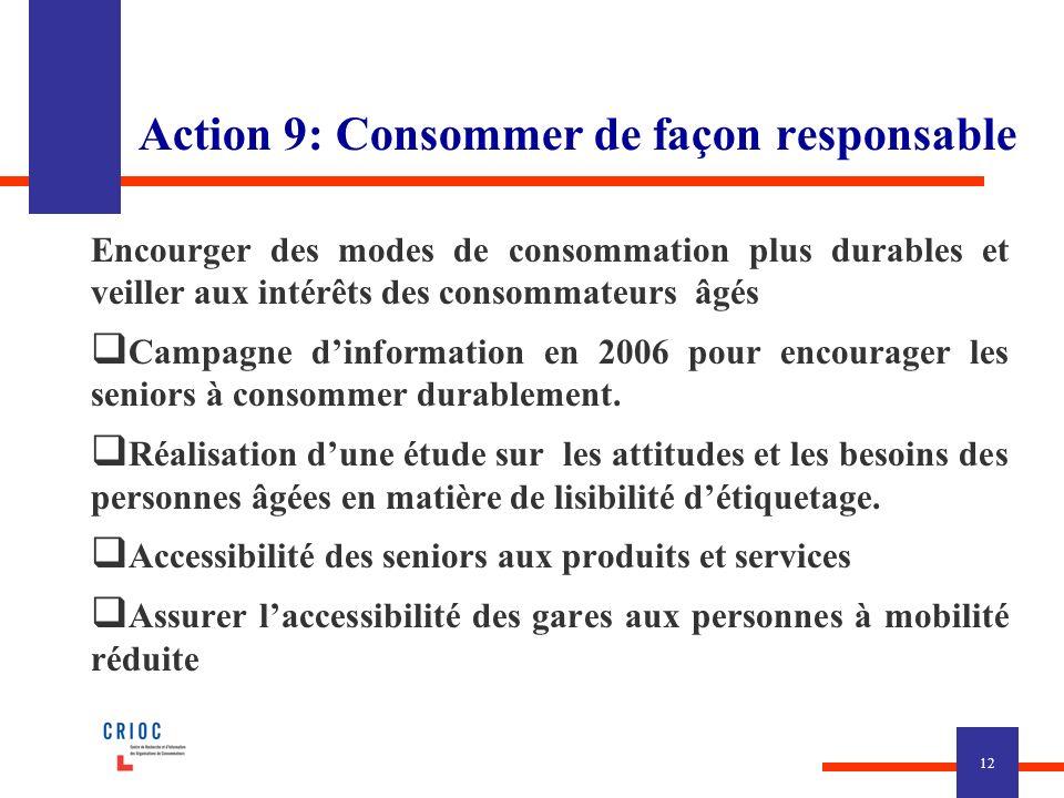 Action 9: Consommer de façon responsable Encourger des modes de consommation plus durables et veiller aux intérêts des consommateurs âgés Campagne dinformation en 2006 pour encourager les seniors à consommer durablement.