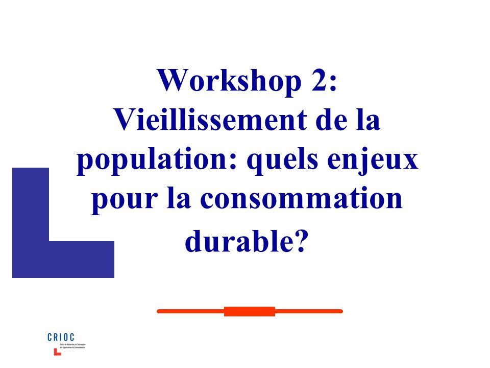 Workshop 2: Vieillissement de la population: quels enjeux pour la consommation durable?