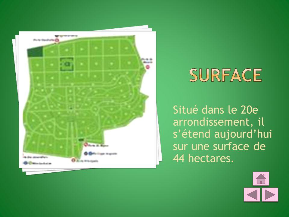 Situé dans le 20e arrondissement, il sétend aujourdhui sur une surface de 44 hectares.