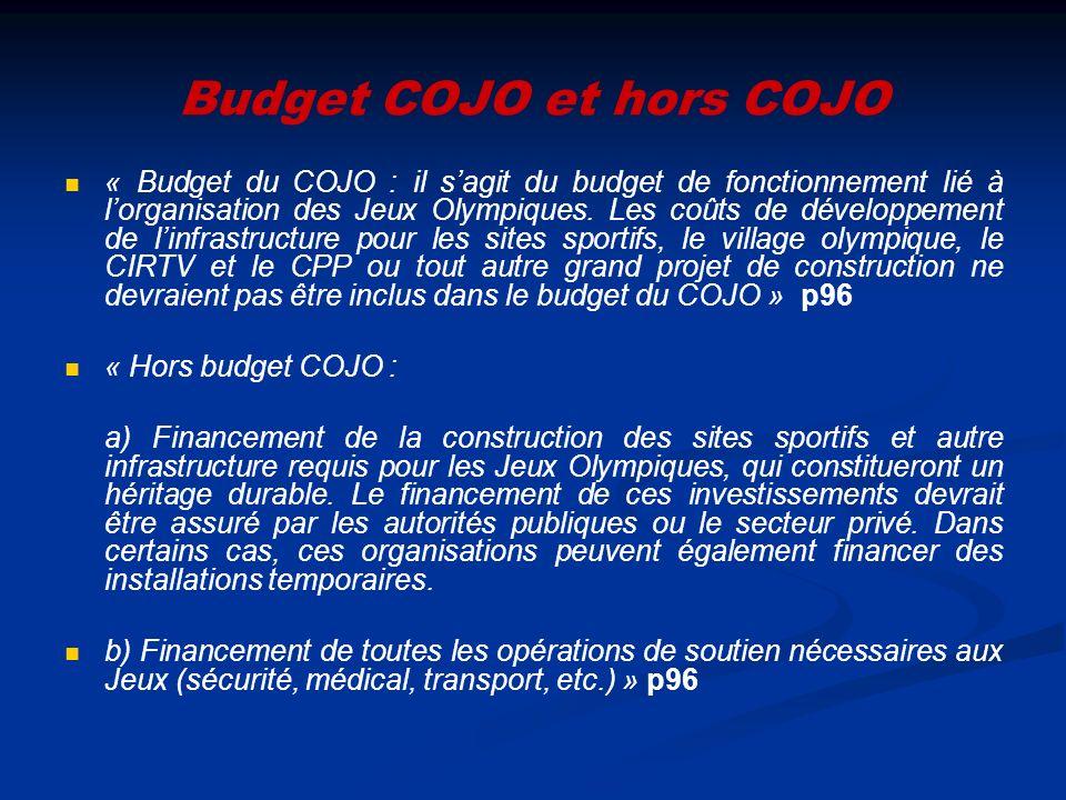 Budget COJO et hors COJO « Budget du COJO : il sagit du budget de fonctionnement lié à lorganisation des Jeux Olympiques. Les coûts de développement d