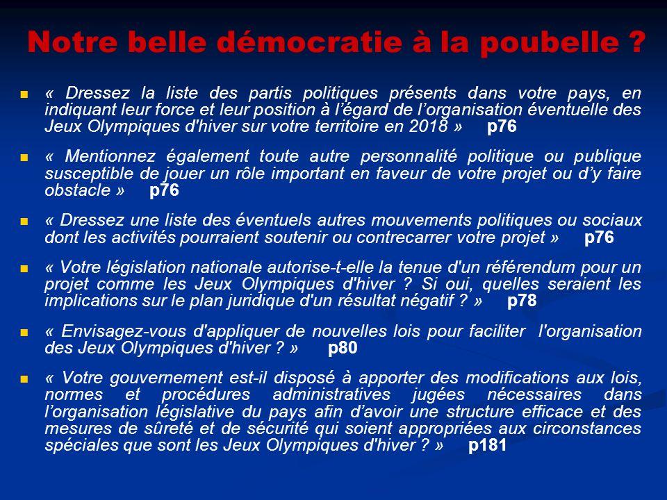 Notre belle démocratie à la poubelle ? « Dressez la liste des partis politiques présents dans votre pays, en indiquant leur force et leur position à l