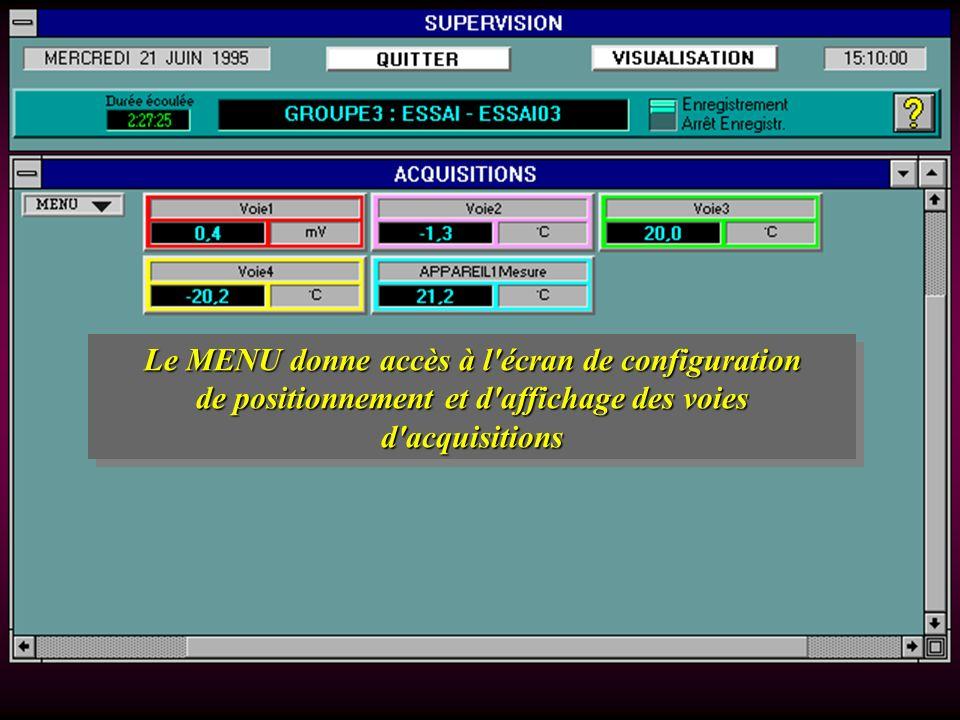 Le MENU donne accès à l écran de configuration de positionnement et d affichage des voies d acquisitions Le MENU donne accès à l écran de configuration de positionnement et d affichage des voies d acquisitions