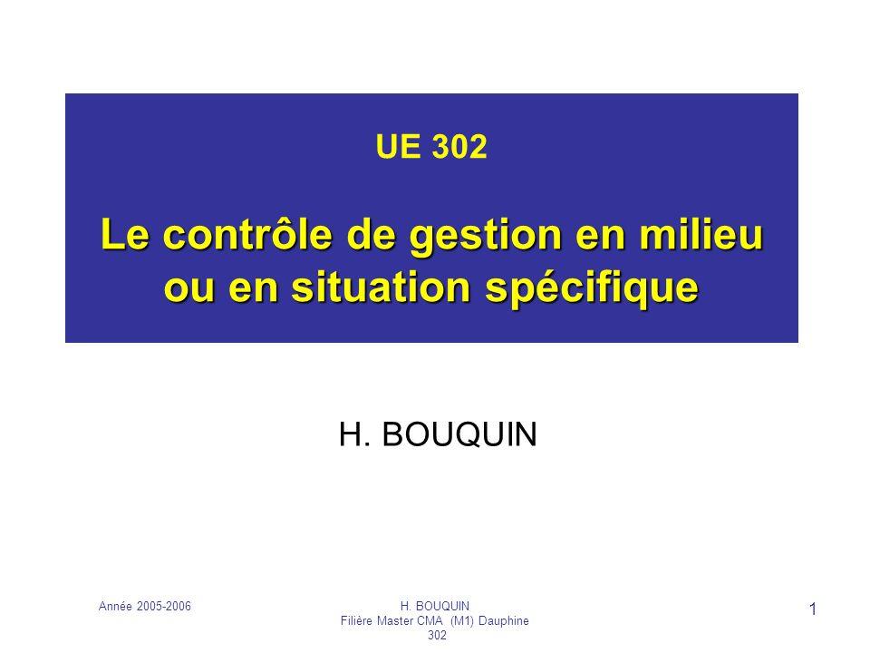 Année 2005-2006H. BOUQUIN Filière Master CMA (M1) Dauphine 302 1 Le contrôle de gestion en milieu ou en situation spécifique UE 302 Le contrôle de ges