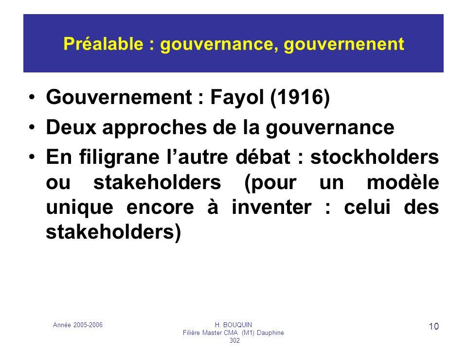 Année 2005-2006H. BOUQUIN Filière Master CMA (M1) Dauphine 302 10 Préalable : gouvernance, gouvernenent Gouvernement : Fayol (1916) Deux approches de