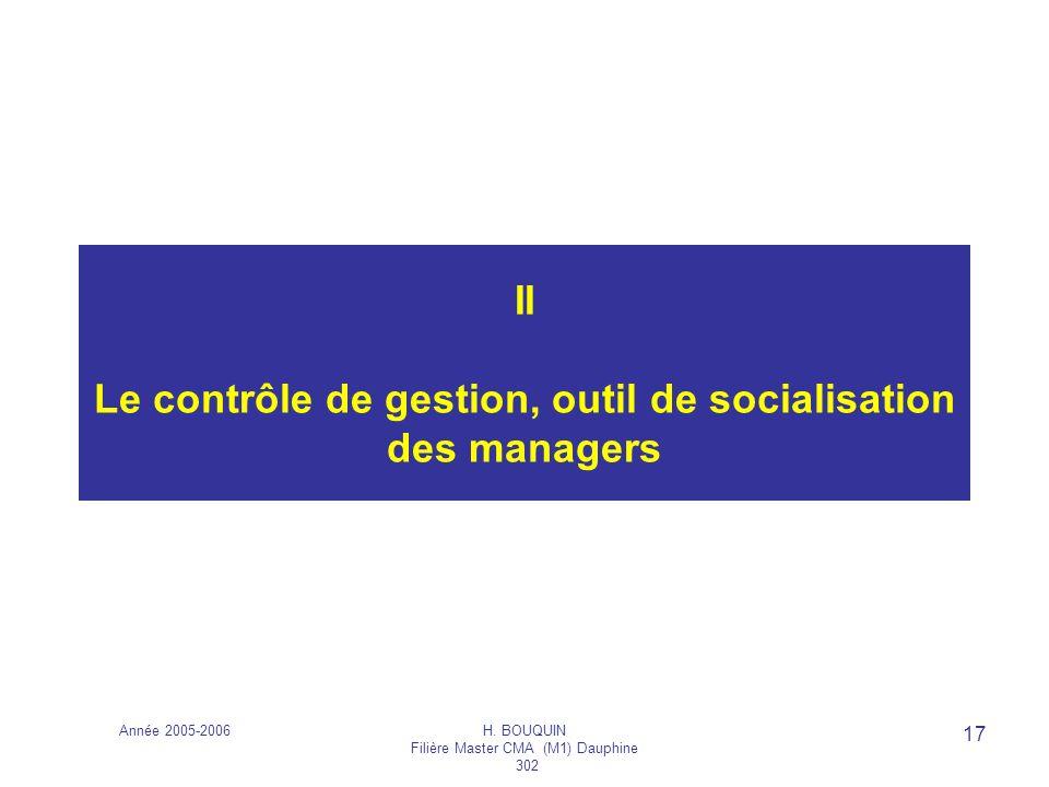 Année 2005-2006H. BOUQUIN Filière Master CMA (M1) Dauphine 302 17 II Le contrôle de gestion, outil de socialisation des managers