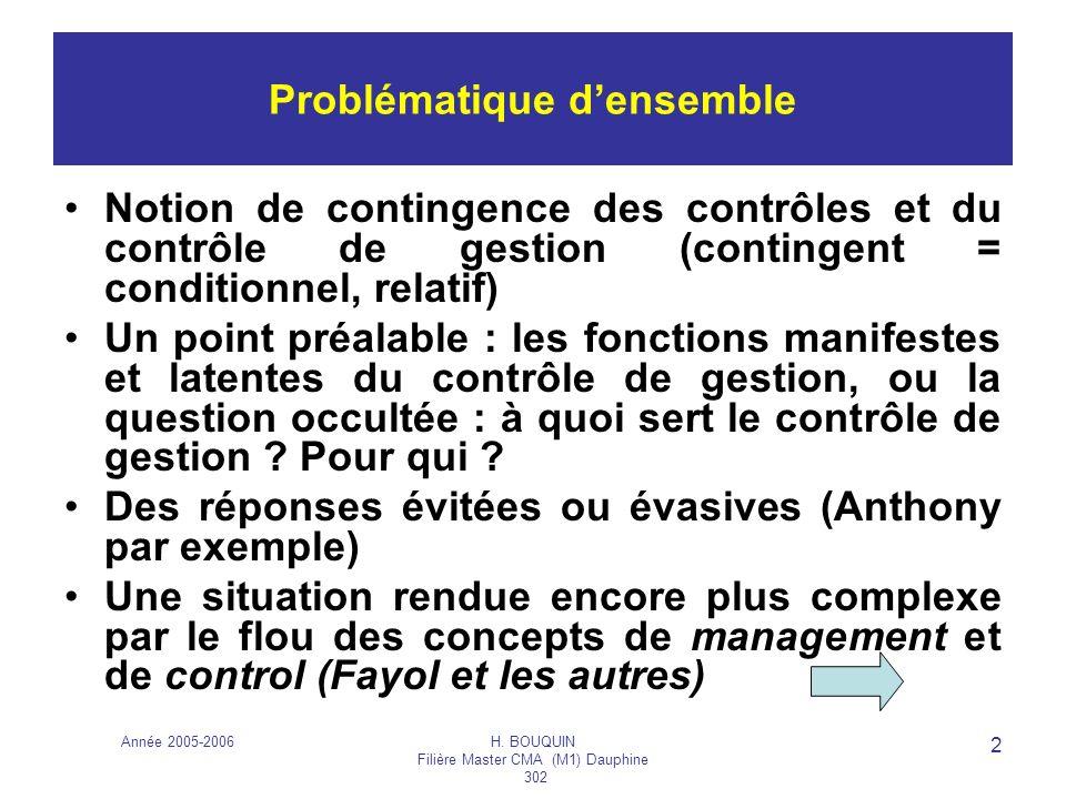Année 2005-2006H. BOUQUIN Filière Master CMA (M1) Dauphine 302 2 Problématique densemble Notion de contingence des contrôles et du contrôle de gestion