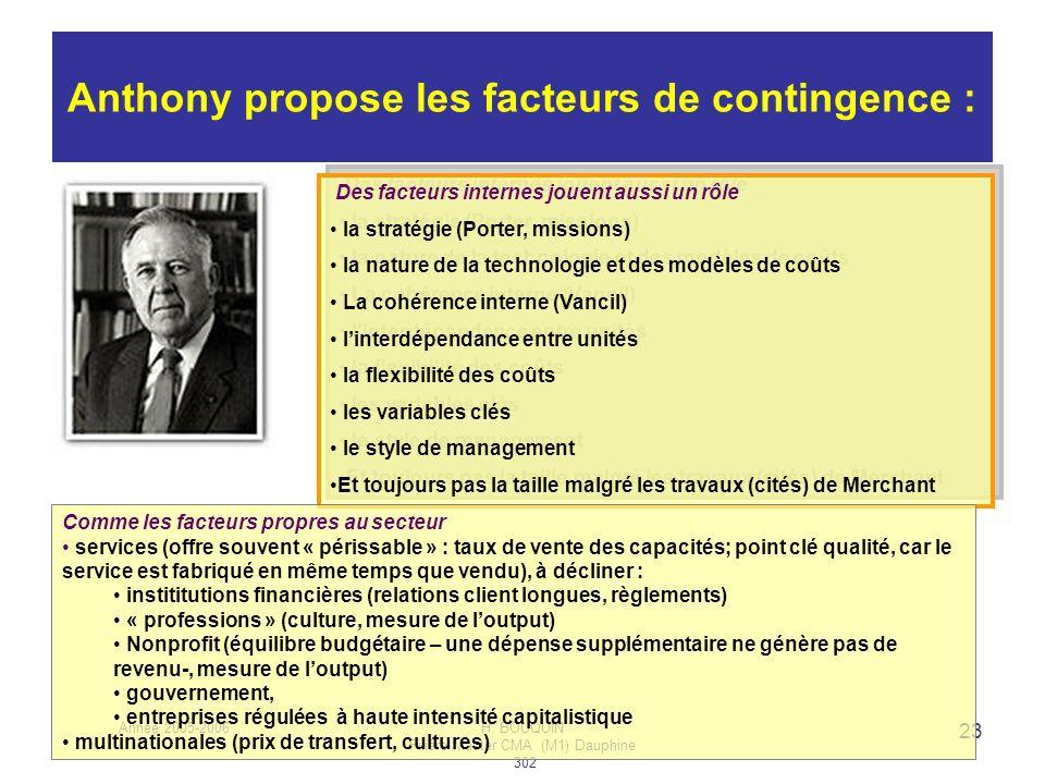 Année 2005-2006H. BOUQUIN Filière Master CMA (M1) Dauphine 302 23 Anthony propose les facteurs de contingence : Des facteurs internes jouent aussi un