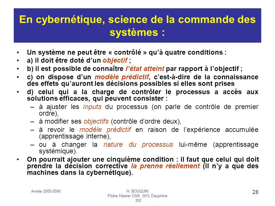 Année 2005-2006H. BOUQUIN Filière Master CMA (M1) Dauphine 302 28 En cybernétique, science de la commande des systèmes : Un système ne peut être « con