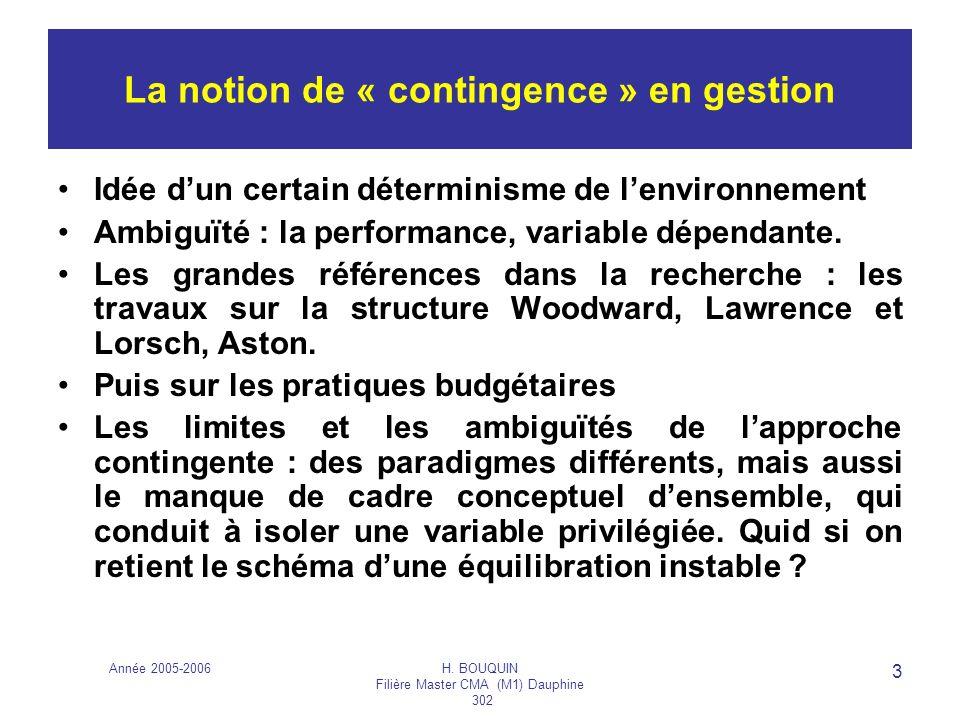 Année 2005-2006H. BOUQUIN Filière Master CMA (M1) Dauphine 302 3 La notion de « contingence » en gestion Idée dun certain déterminisme de lenvironneme