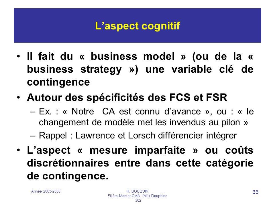 Année 2005-2006H. BOUQUIN Filière Master CMA (M1) Dauphine 302 35 Laspect cognitif Il fait du « business model » (ou de la « business strategy ») une