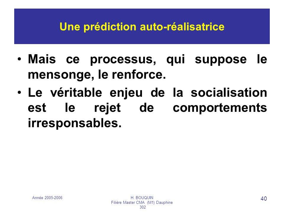 Année 2005-2006H. BOUQUIN Filière Master CMA (M1) Dauphine 302 40 Une prédiction auto-réalisatrice Mais ce processus, qui suppose le mensonge, le renf