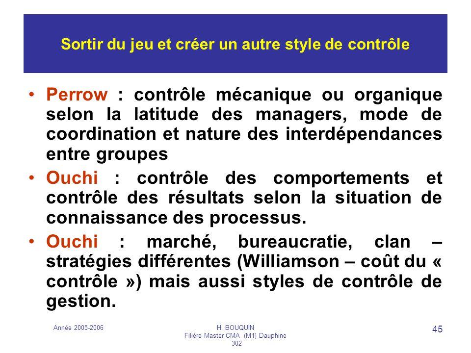 Année 2005-2006H. BOUQUIN Filière Master CMA (M1) Dauphine 302 45 Sortir du jeu et créer un autre style de contrôle Perrow : contrôle mécanique ou org