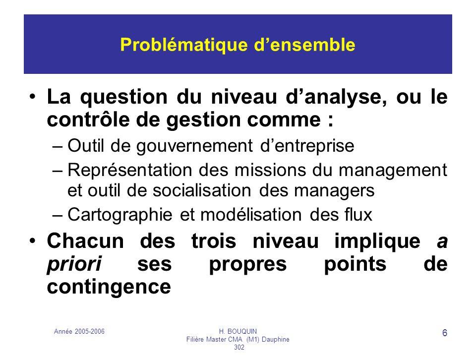 Année 2005-2006H. BOUQUIN Filière Master CMA (M1) Dauphine 302 6 La question du niveau danalyse, ou le contrôle de gestion comme : –Outil de gouvernem