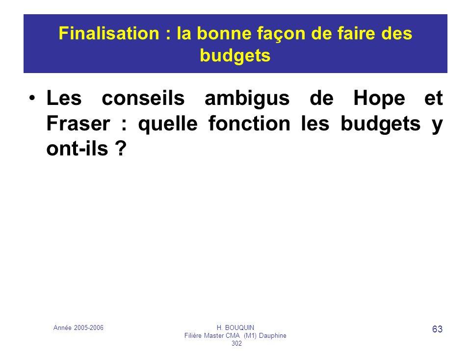 Année 2005-2006H. BOUQUIN Filière Master CMA (M1) Dauphine 302 63 Finalisation : la bonne façon de faire des budgets Les conseils ambigus de Hope et F